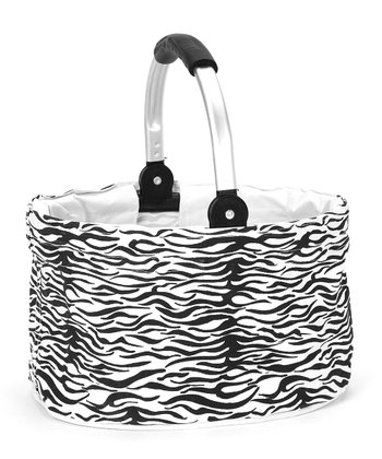 Black & White Horizontal Zebra Mini Folding Basket