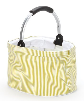 Green Stripe Mini Folding Basket