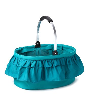 Blue Ruffle Folding Market Basket