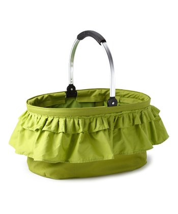 Green Ruffle Folding Market Basket