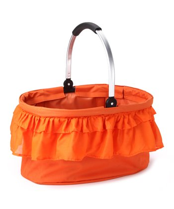 Orange Ruffle Folding Market Basket