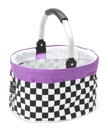 Checkerboard Small Folding Market Basket