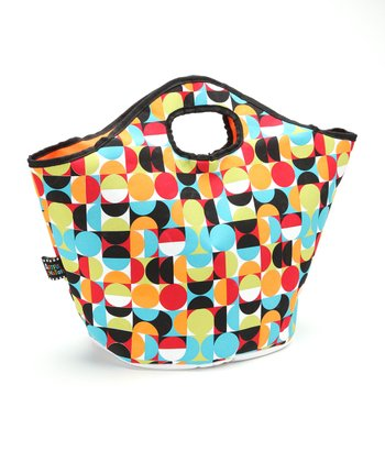 Red & Cyan Circle Insulated Tote