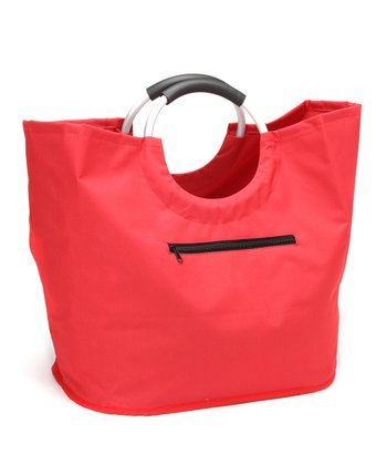 Red O-Handle Shopping Tote