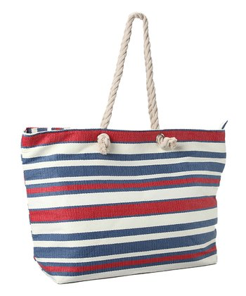 Blue & Red Thin Stripe Tote
