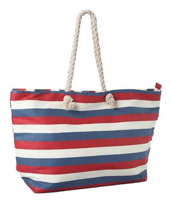 Blue & Red Wide Stripe Tote
