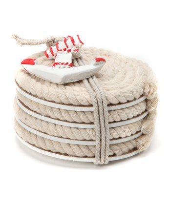 Red Nautical Rope Coaster - Set of Four
