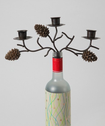 Large Pinecone Wine Bottle Candelabra