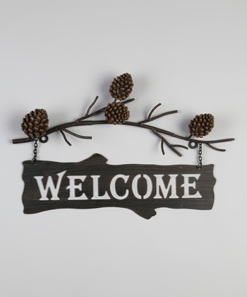Pinecone 'Welcome' Sign