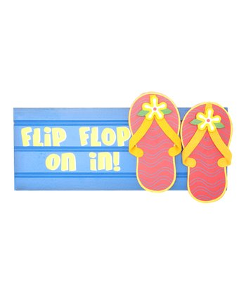 Blue & Red 'Flip Flop on In!' Block Party Sign