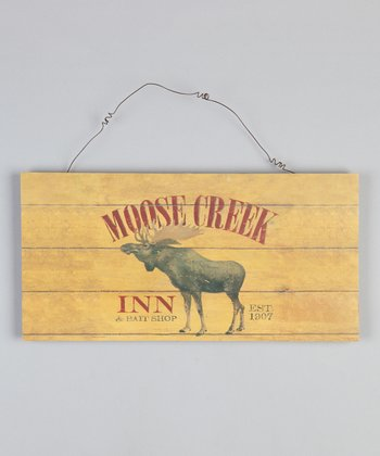 Yellow Moose Wood Sign