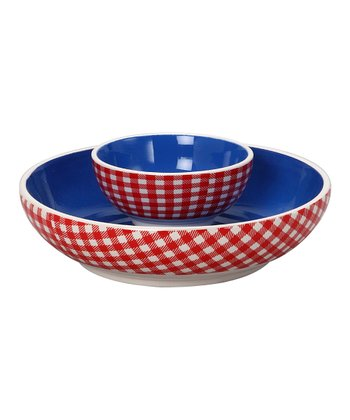Red & Blue Ceramic Chip & Dip Bowl Set