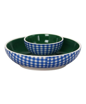 Blue & Green Ceramic Chip & Dip Bowl Set