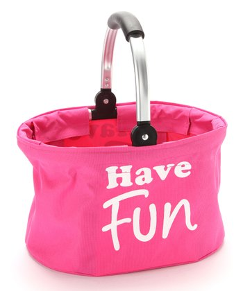 Pink 'Have Fun' Small Folding Market Basket