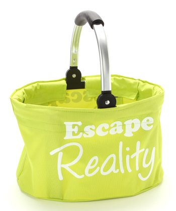 Green 'Escape Reality' Small Folding Market Basket
