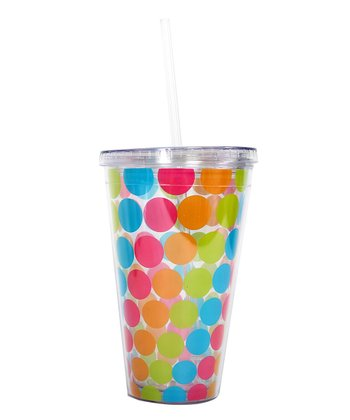Polka Dot Tropical 24-Oz. Tumbler & Straw