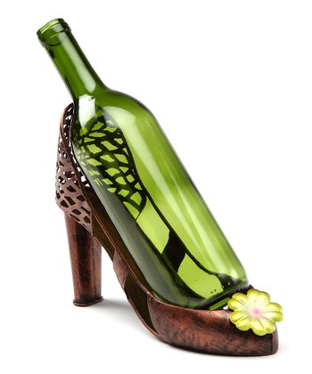 Green Flower High Heel Wine Holder