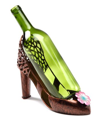 Pink Flower High Heel Wine Holder