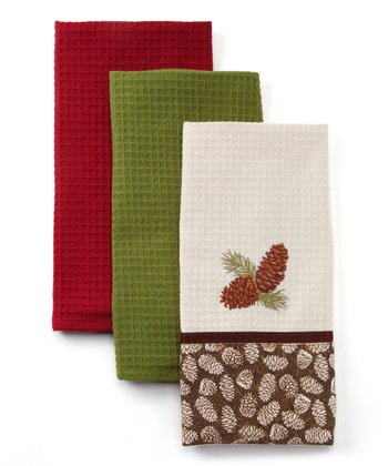 Brown Pinecone Dish Towel Set