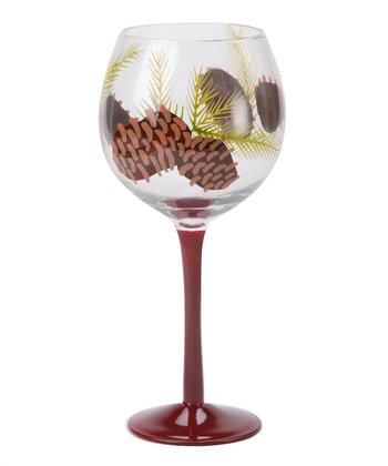 Red Pinecone Wine Glass