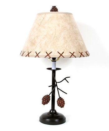 Brown & Beige Pinecone Branch Short Table Lamp