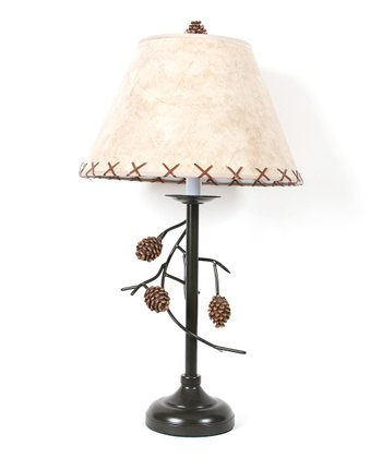 Brown & Beige Pinecone Branch Tall Table Lamp