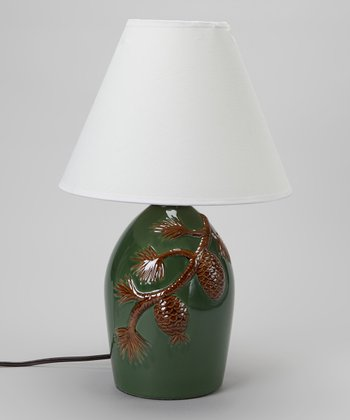 Teal Pinecone Lamp