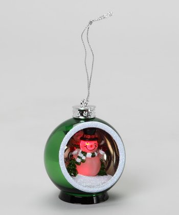 Green Snowman LED Ornament