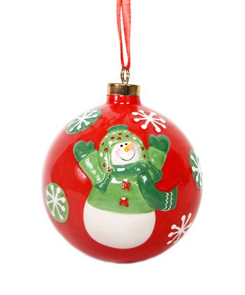 Red & Green Snowman Ball Ornament