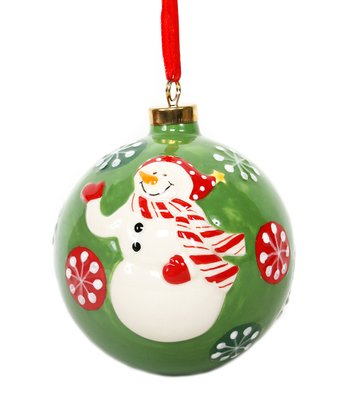 Green Snowman Ball Ornament