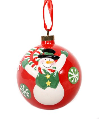 Red Snowman Ball Ornament