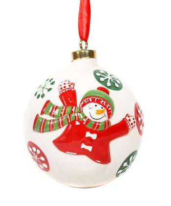 White Snowman Ball Ornament