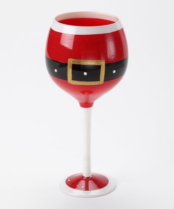 Red Santa Belt Wineglass