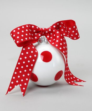 Red Dot Ribbon Ornament