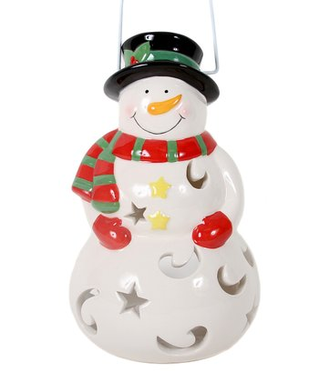 Red & Green Stripe Scarf Snowman Lantern