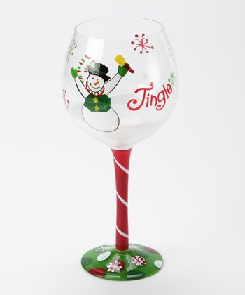'Jingle' Snowman Wine Glass