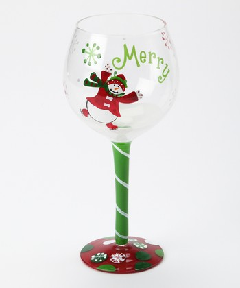 'Merry' Snowman Wine Glass