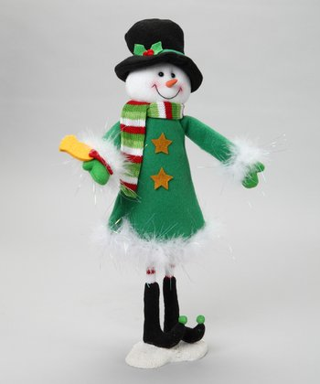 Dark Green Wire Snowman Figurine
