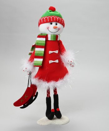 Red Wire Snowman Figurine