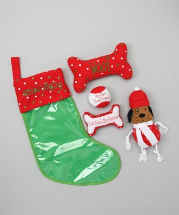 Dennis East Red & Brown Stocking & Dog Toy Set