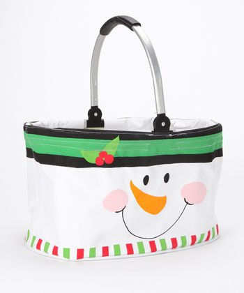 Green Snowman Face Folding Market Basket