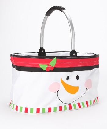 Dennis East International Red Snowman Face Folding Market Basket