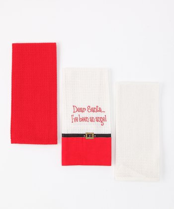 'Angel' Santa Belt Dish Towel Set