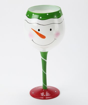 White & Green Stem Snow Face Wineglass