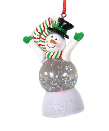 Black Top Hat LED Snowman Ornament