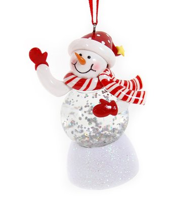 Red Hat LED Snowman Ornament