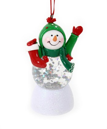 Green Hat LED Snowman Ornament