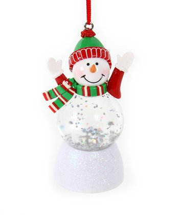 Red & Green Hat LED Snowman Ornament