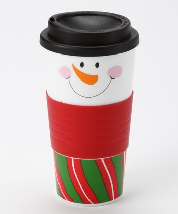 Green & Red Wide Stripe Snowman Face Tumbler