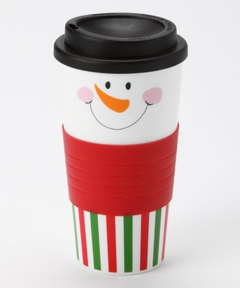 Red & Green Stripe Snowman Face Tumbler